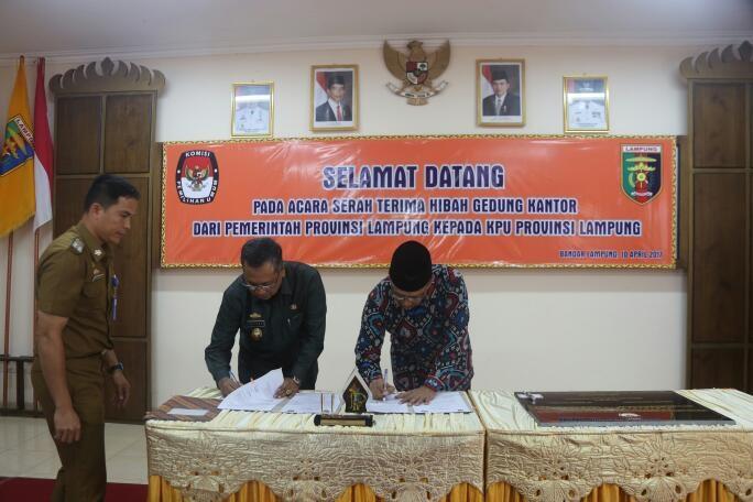 Pemprov Lampung Berikan Hibah Tanah Dan Bangunan Kepada KPU